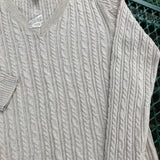 CROFT & BARROW Women's NEW V-Neck Rope Cotton Blend Sweater, Size L
