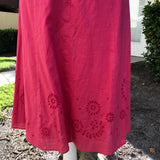 ANN TAYLOR Women's Coral Embroidered 100% Cotton A-Line Halter Dress Size 4