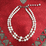 Double Strand Faux Pearl Choker Necklace