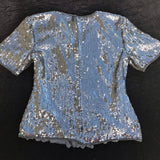 1980's VINTAGE Women's Sequined & Beaded Evening Formal Blouse Top