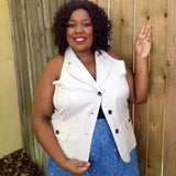 Sherry Taylor Plus Size 3 Button Khaki Top Vest, Size 3X