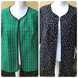 Women's Plus Size 2 Sided Polka Dot & Print Career Jacket, Size 2X