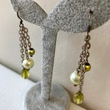 Artisan Handcrafted Lime Bead Drop Chain Earrings