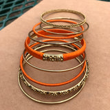 Indian Boho Chic Orange & Gold Tone Bangle Bracelet Set