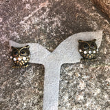 Owl Bronze & Rhinestone Stud Earrings