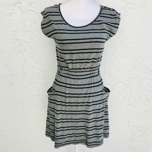 I H81 Grey Stripe Cotton Dress, Size Small