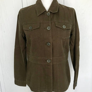 Valerie Stevens Casual Women's Olive Cotton Jacket, Size Small