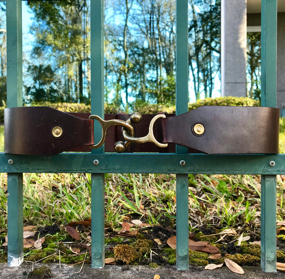 "Coldwater Creek Intelocking Equestrian Leather Statement Belt, Size S/M 31"" x 2.25"""