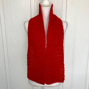 "Chunky Red Handmade Winter Holidays Scarf, Size 7"" x 57"""