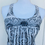 YoYo 5 Embroidered Black & White Print Top, Size Medium