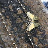 Artisan Crafted Enameled Butterfly Matinee Necklace