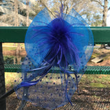 "8"" Royal Blue Feather Fascinator"