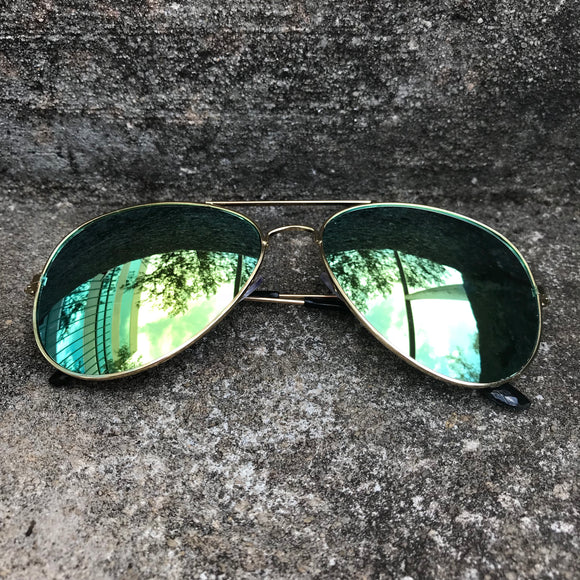 Mirror Green Lens Polarized Green Aviator Sunglasses
