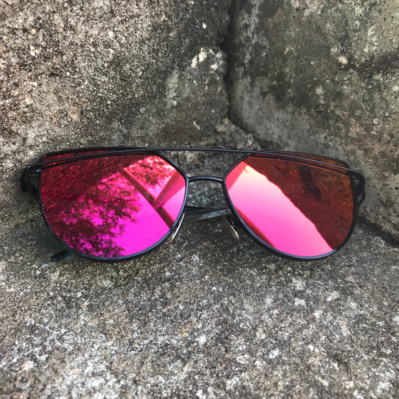 Women's Mirrored Pink Tint Cat-eye Sunglasses