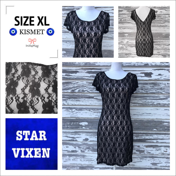 STAR VIXEN Women's Plus Size XL Black Lace Shift Bodycon Dress