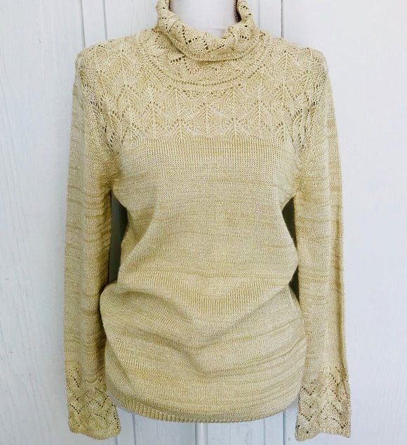 Anne Klein Tan & Tinsel Sweater, Size M