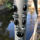 Black & White Beaded Tassel Matinee Necklace