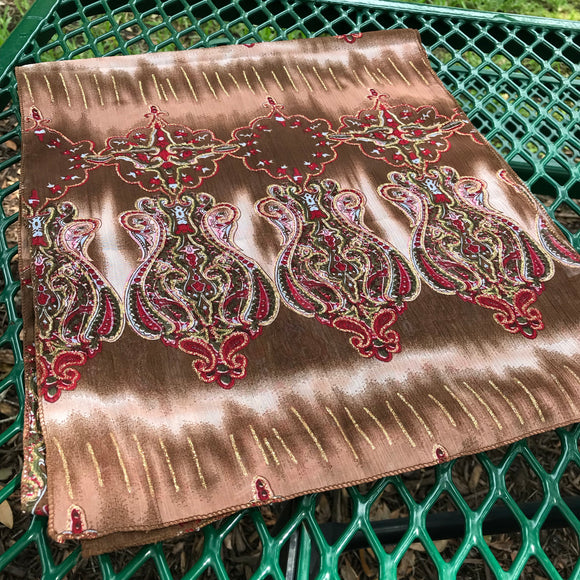 "Women's Gorgeous Brown, Red & Gold Medallion Print Chiffon Scarf, Size 13"" x 61"