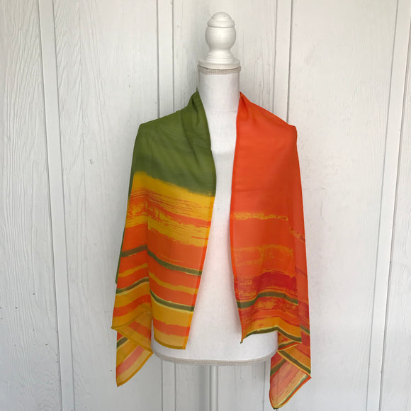 "LA BLANKA Large Green, Yellow & Orange Chiffon Scarf 24"" x 54"""