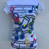 1955 Vintage Music Notes Novelty Cotton T-Shirt, Size Medium