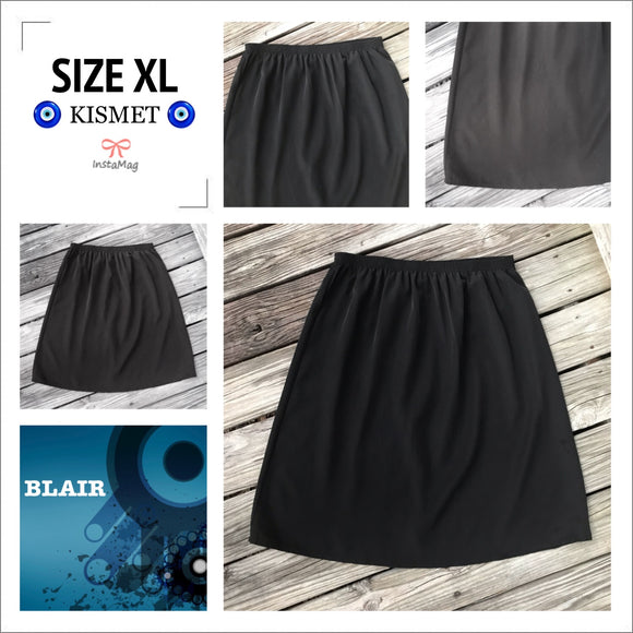BLAIR Women's Plus Size XL Vintage Black Midi Skirt