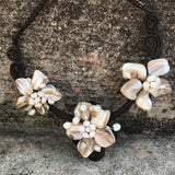 Artisan Crafted Natural Shell & Pearl Statement Necklace