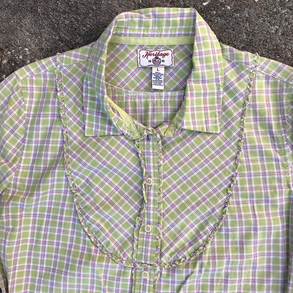 HERITAGE 1981 Women's Green Country Plaid 100% Cotton Button Blouse, Size L