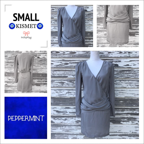 PEPPERMINT Women's Size Small Silk Feel Long Sleeve Casual Dress