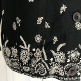 The Quacker Factory Black & White Cotton Beaded Jacket, Size S