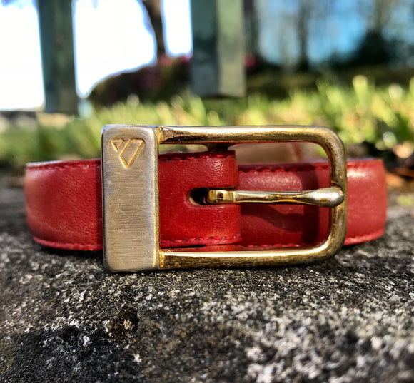 Vintage Liz Claiborne Red Leather Belt, Size Large