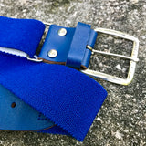 "BASEBALL PANTS BELT Stretch Blue, Size Large 1.5"" x 40"""