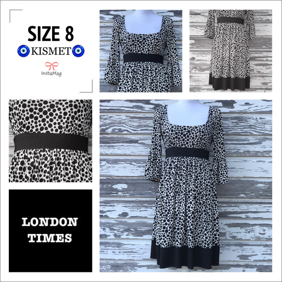LONDON TIMES Women's SIZE 8 Polka Dot High Waist Bell Sleeves Stretch Dress