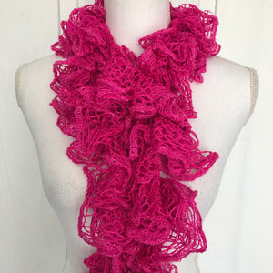 Women's Magenta Hot Pink Long Ruffed Scarf, 93""