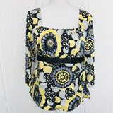 Ladies Geometric Print Empire Satin Top, Size M