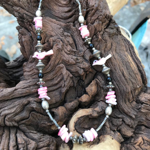Artisan Handcrafted Pink Bird Matinee Necklace