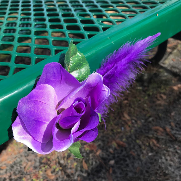 Artisan Crafted Purple Flower Hair or Scarf Clip