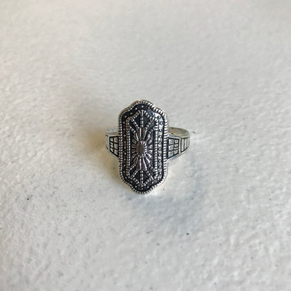Boho Chic Medallion Ring,  Size 8
