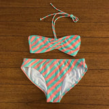 OP Women's Two Piece Striped Bathing Suit, Size M (7-9)