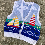 Robert Scott Ltd Knitted By Hand Nautical Sea Lighthouse Boat Pullover Sweater Vest
