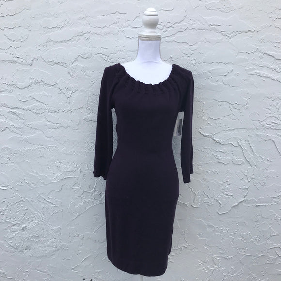Connected Apparel Deep Purple Cashmere Feel Sweater Dress, Size Small