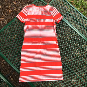 OLD NAVY Women's Orange & White Stripes Stretch Bodycon Cotton Blend Dress, Size XS