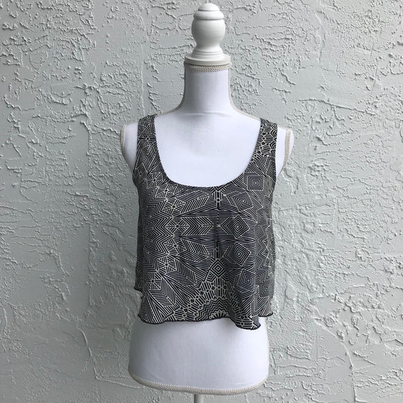 Fire Los Angeles Navy Print Top, Size S