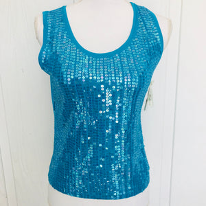 Turquoise Sequined Tank Top, Size S