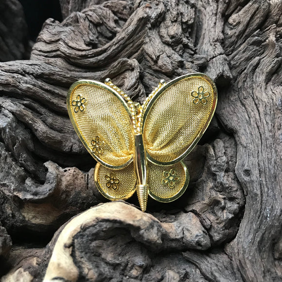 "Vintage butterfly Gold Tone 1.5"" Brooch Pin"
