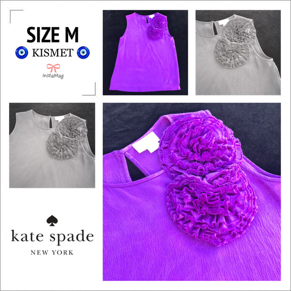 KATE SPADE Women's Size S 100% Silk Royal Purple Sleeveless Floral Blouse