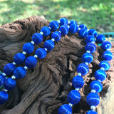 "Vintage Royal Blue Thread Beaded Matinee 30"" Necklace"