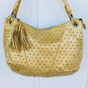 Montini Made in Italy Golden Bronze Genuine Leather Studded Hobo Purse