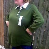 Laura Scott Plus Size Olive Green Top Blouse Shirt, Size 3X 29/22W