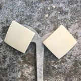 "Vintage 1980's Square Shaped Creamy Ivory Color Resin 1.5"" Stud Earrings"