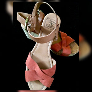 Lucky Brand Lawson Terracotta Platform Sandal Wedges, Size 9M